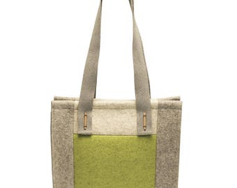 """SALE - """"Patch"""" - Felt tote bag made of 100% merino wool. Handbag, 30 Percent discount only on this color"""