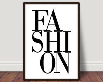 Fashion print, typography print, typography art, digital print, home print,wall art, wall print, monochrome print, fashion poster,home decor