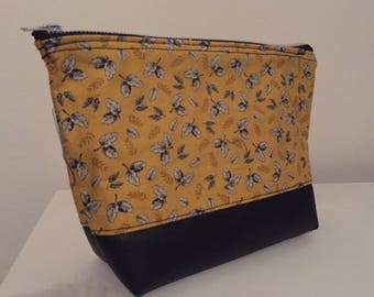 Handmade fabric zippered, fully lined cosmetics bag/toiletries/pencil case
