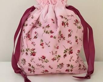 Knitting bag / knitting bags / crochet bag / project bag -  pretty little roses