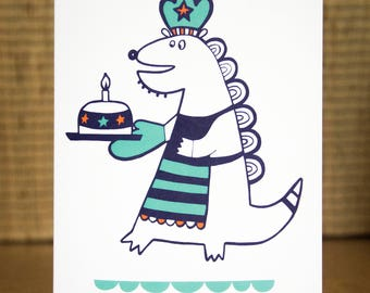 Dinosaur Card - Dinosaur Birthday Card, Monster Card, Dinosaur Greetings Card, 1st Birthday Card, Monster Birthday Card, FREE SHIPPING!
