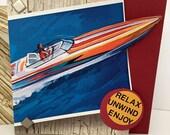 Mens Birthday Card Speed Boat Handmade Card