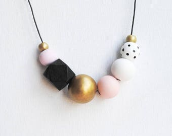 Chunky Handpainted Geometric Necklace, Pastel Statement Necklace, Color block necklace, Handmade necklace, Wooden necklace Polka dots pink
