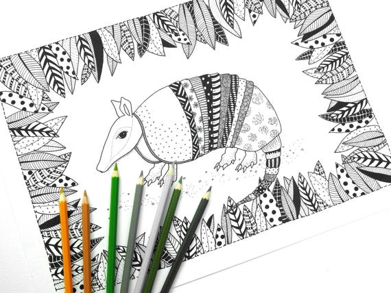 armadillo colouring page adult colouring page adult coloring book color page printable coloring pages adult colouring book from martiecz on etsy - Armadillo Coloring Pages Print