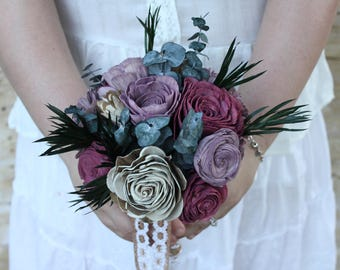 Sola Wood Flower Bouquet Plum Boho Bridal