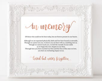 In memory sign for wedding - In Memory Sign - In Loving Memory Sign - Wedding Simple - Rose Gold Wedding- Downloadable wedding #WDH812323