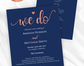 Wedding programs instant download - Navy and Rose Gold - We Do Wedding Programs - Wedding ceremony program - Downloadable wedding #WDHSN8127