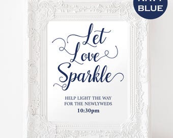 Navy Let Love Sparkle Wedding Sign - Navy Wedding Decor - Instant Download - Modern Signs - Simple Wedding - Downloadable wedding