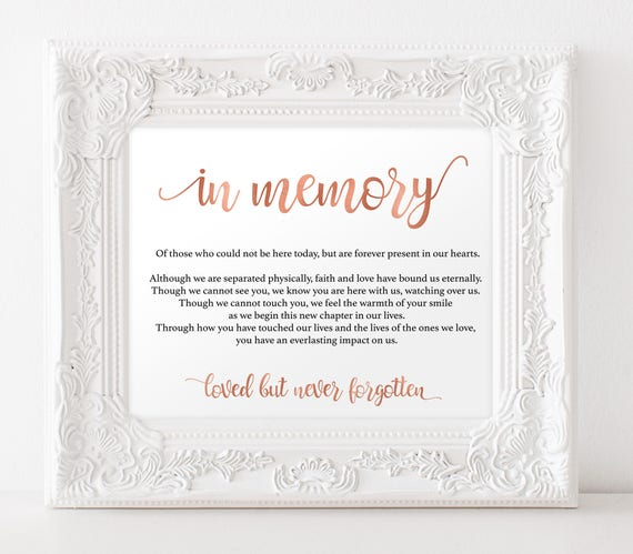 In memory sign for wedding
