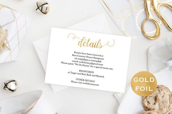 Gold Wedding Details Card