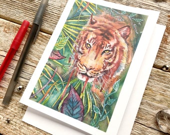 Save the tiger // Tiger card, Tropical stationary, Jungle watercolor, Tropical card, Save the trees