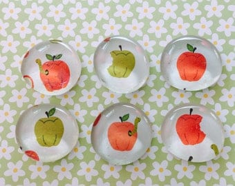 Apple magnets, glass magnets, magnet set, teacher gift, party favor, inexpensive gift, fall decor, refrigerator magnets