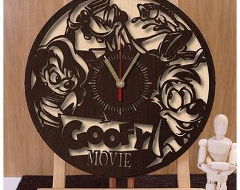 Goofy Clock| Disney Clock| Goofy Wooden Clock|Disney Horloge|Plywood Clock|Disney Gift|Wall Clock w181| Handmade Clock