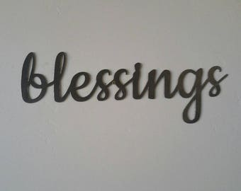 Blessings Metal Sign, Blessings Sign, Blessings Metal Word, Blessings Metal Art