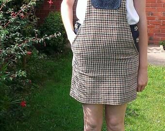 Tweed dungaree dress, tweed dress, ladies dress, Harris tweed, size 8 dress