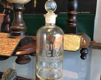 Hydrochloric acid bottle antique glass stopper laboratory