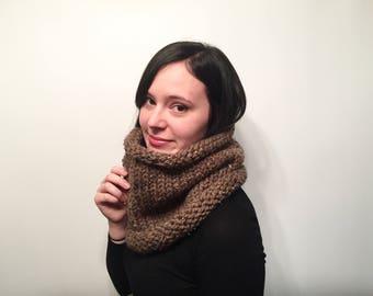 Chunky Knit Cowl // Women's Winter Knit Neck Warmer // Handmade Wool Blend Scarf