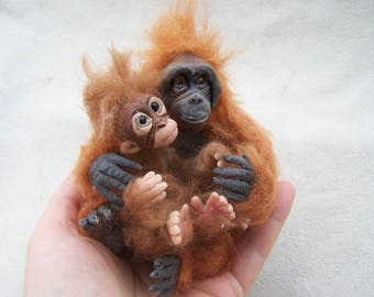 Ooak Miniature Dollhouse Monkey Orangutan Mom and baby by Malga