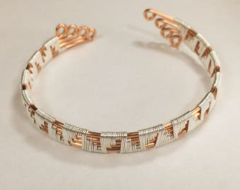 Wire wrapped weaved bracelet Adjustable Copper wire weaved bracelet Copper Jewelry