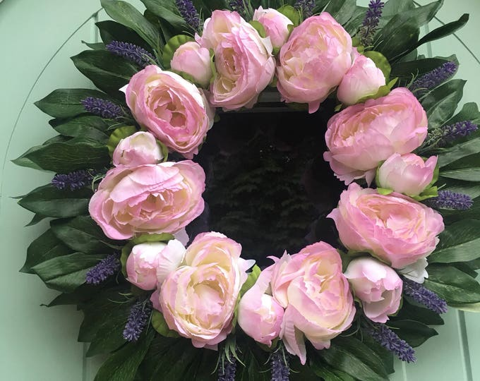 Beautiful Peony and Lavendar Door Wreath