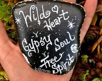 Wild Heart Painted Rock