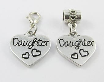Daughter Heart Charm Select European Charm or Clip on Charm