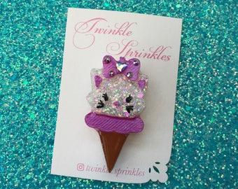 Marie aristocats ice cream cone brooch / necklace