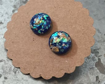 Studs With Gold Leaf Specs 12mm