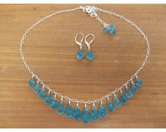 Genuine Natural large Aqua Blue Apatite faceted briolettes beads sterling silver necklace and earrings set