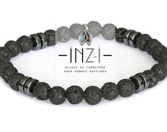 Mens bracelet lava stone and hematite 6 mm INZ - I - Sam