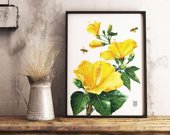 Hibiscus Print, Botanical Print, Wall Art, Yellow Flower, Room Decor, Iris Watercolor, Printable Wall Art, Garden Flowers Decoration