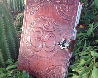 Leather Journal - Embossed Leather Sketchbook Om Symbol - Leather Notebook Bronze Closure - Handmade Notebook - Leather Travel Book