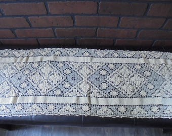 "Vintage Hand Crocheted Lace Table Runner 13"" X 48"""