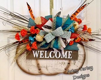 Fall Pumpkin Wreath Door Hanger