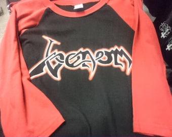 New  Venom - Legions  baseball t shirt - Black/red - size L  1 left - Bathory,Slayer,Sodom,Destruction.