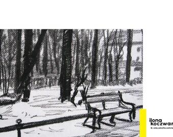 Old City Cracow Poland | charcoal drawing dibujo al carbon boceto Skizze ilustracion illustration Krakow Kraków Krakau Impresion ART PRINT