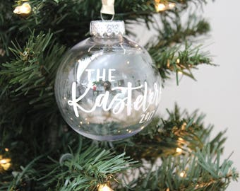 Hand Lettered Personalized Ornament | Calligraphy Ornament | Personalized Christmas Ornament | Shatterproof Ornament | Custom Ornament
