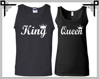 King Queen With Crown Couple Tank Top Party Tanks Couple Tops Love Top Anniversary Love Tanks Best Selling Tank Top Gifts For Him And Her