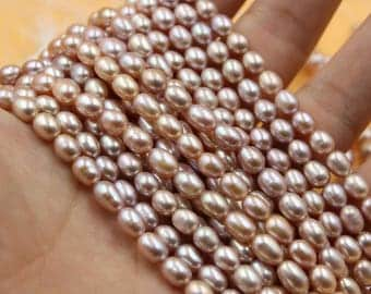 Freshwater Pearls Oval pearl Natural Purple loose pearl 6 - 7 mm 15'' Full Strand
