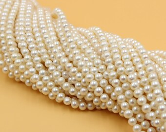 5 - 6 mm white round freshwater pearls, white round pearl, full strand, round pearl strands, pearl wholesale