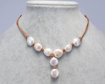 Leather Pearl Necklace,Leather Necklace,Pearl and Leather Necklace,Freshwater Pearl Jewelry,Coin Pearl Necklace,Gift for Mom Sister Girls