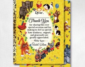 Little Goldenbook Thank You Cards, 1st Birthday Thank You Cards, Vintage Goldenbook Thank You Notes, Unique 1st Birthday Thank You, DI4527