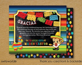 Printed Papel Picado Flags Mexican Fiesta Thank You Cards, Fiesta Party Theme Thank You Cards, 1st Birthday Girl Thank You Card, DI3029TY