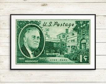 Franklin D Roosevelt, FDR, Roosevelt, Hyde Park, classroom posters, US history posters, vintage US art, vintage americana, dark green prints