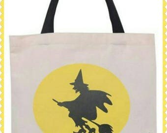 Trick or treat Halloween Bag Personalized with your name , candy bag , witch bag , treat bag