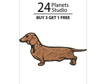 Dachshund Iron on Patch by 24PlanetsStudio Cute Applique Cute Patch dog patch dogs