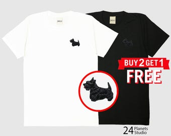 Scottish Terrier Dog Embroidered T-Shirt by 24PlanetsStudio