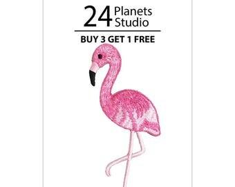 Flamingo Bird Iron on Patch by 24PlanetsStudio