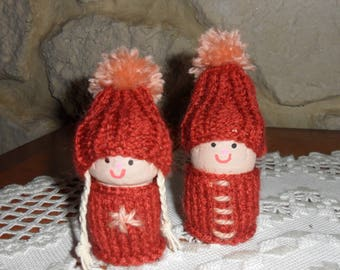 set of two happy Elf decoration