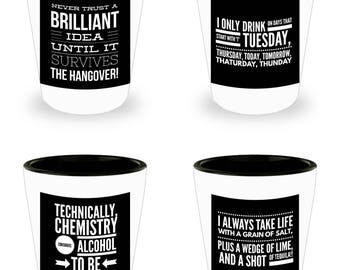 Set of 4 Hilariously Funny Shot Glasses With Humorous Alcohol Related Sayings! White Ceramic Shot Glasses Make An Awesome gift!